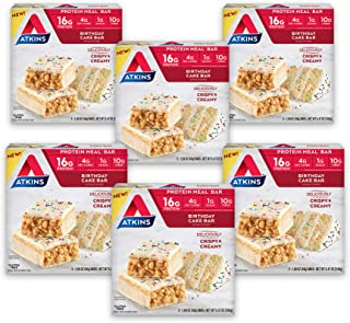 Atkins Birthday Cake Protein Meal Bar. Crispy & Creamy with Real Almond Butter. Keto Friendly. (30 Bars)