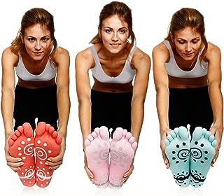 Super Grip Yoga Toe Socks 3 Pack - Active Socks for Pilates & Pure Barre - Non Slip Superior Grips for Women's & Girls