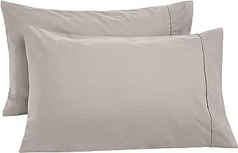 AmazonBasics Ultra-Soft Cotton Pillowcases, Breathable, Easy to Wash, Set of 2, Dove Grey, King