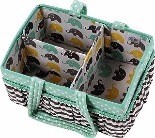 Bacati Elephants Unisex Nursery Fabric Storage Caddy with Handles, Mint/Yellow/Grey
