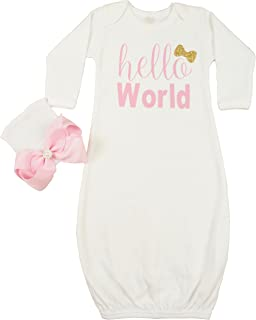 Hello World Infant Baby Gown Layette Soft Sleeper Newborn Girl's Soft Beanie Girl Outfit White Gold