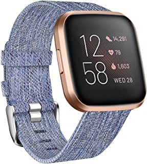 NANW Bands Compatible with Fitbit Versa, Versa Lite Edition Bands Small Large, Woven Fabric Accessories Strap Wristband Wo...