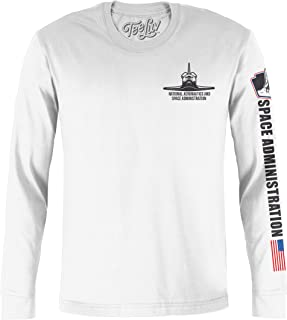 Tee Luv NASA Shuttle Graphic T-Shirt - Long Sleeve NASA Worm Logo Shirt