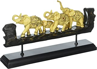 Exotic Adorned Elephants Faux Carved Wood Figurine Sculpture, Coffee Table Mantel or Shelf Decor