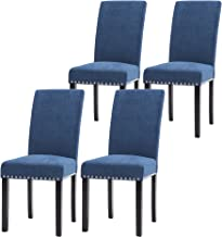 LSSPAID Dining Chair Set of 4 Fabric Padded Side Chair with Solid Wood Legs, Nailed Trim(Blue)