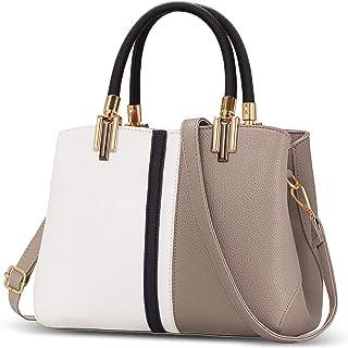 TIBES Damen Elegant Leder Handtaschen Short Travel Top-Griff Handtasche Khaki