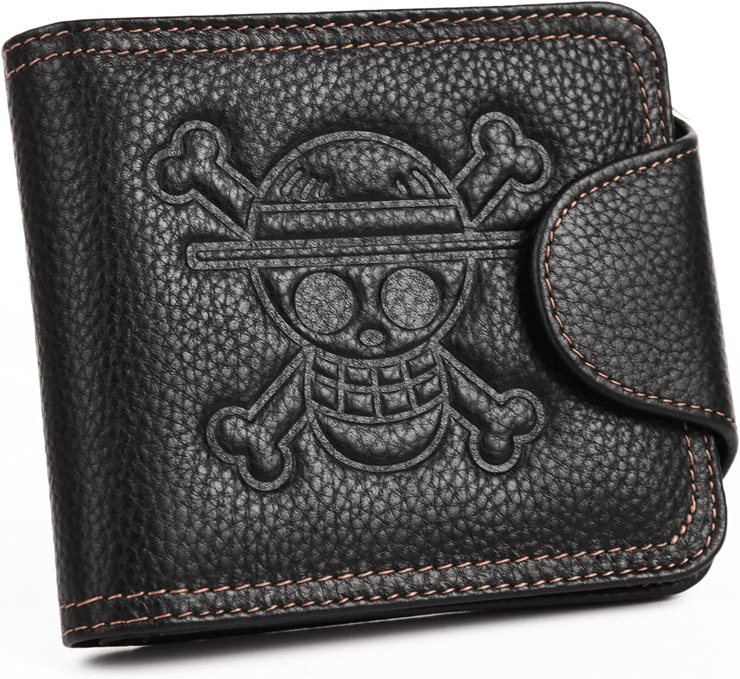 YJacuing Anime One Piece Straw Hat Pirates Jolly Roger Leathercraft Wallet (Leather)