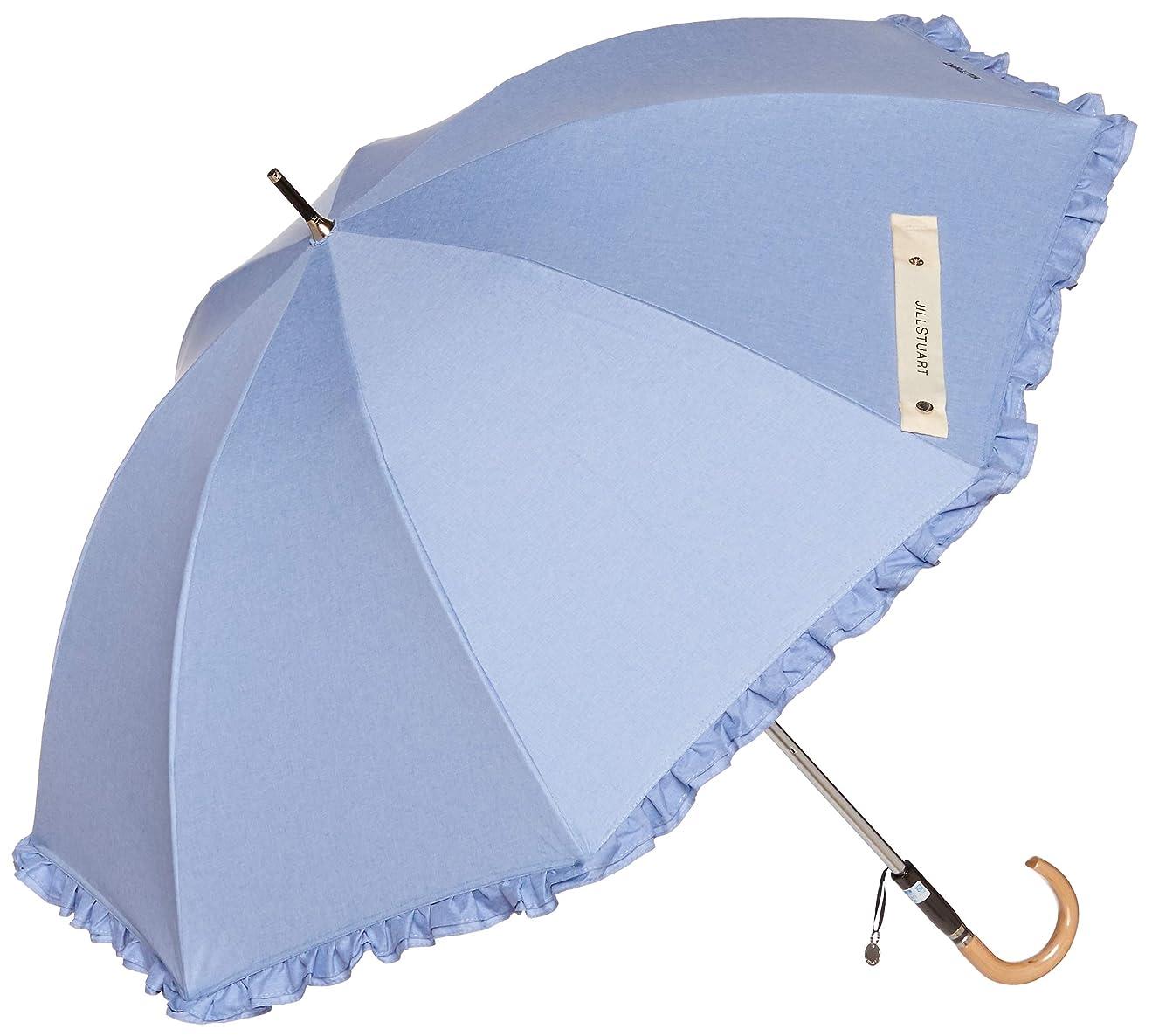 偽善者船員規定[ジルスチュアート] AURORA(オーロラ) JI-23004-04 シャンブレーフリル1段スライドUV遮光兼用長傘