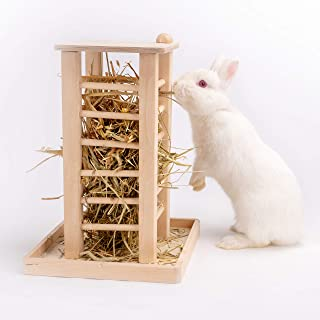 andwe Hay Feeder Less Wasted Wooden Food Feeding Rack for Rabbit Guinea Pig Chinchilla - Standing Pet-self Feeding Hay Manager