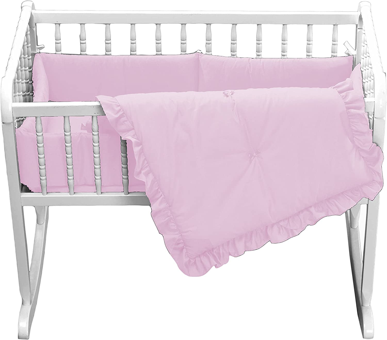 Babydoll Primary s Cradle Bedding, Pink, 15 x33