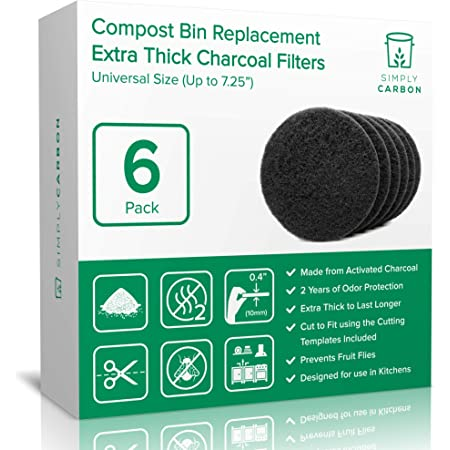 InHome Compost Bin//Pails 7 Pack Charcoal Filter Vented 7x0.65 Gallon