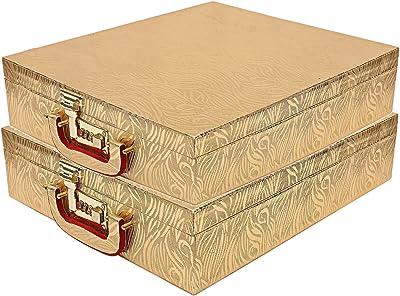 Kuber Industries Wooden Rectangular Five Rod Bangle Storage Box (Gold, CTKTC8678) - 2 Pieces