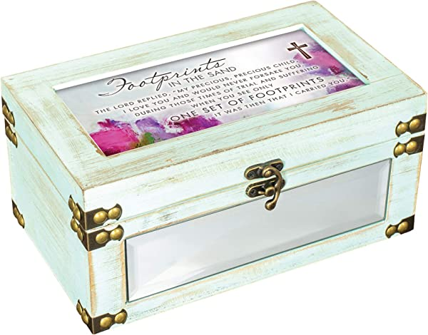 Cottage Garden Footprints In The Sand Distressed Celadon Green Metal And Wood Music Box Plays How Great Thou Art