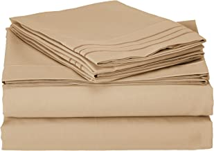 Sweet Home Collection Supreme 1800 Series 4pc Bed Sheet Set Egyptian Quality Deep Pocket - King, Camel