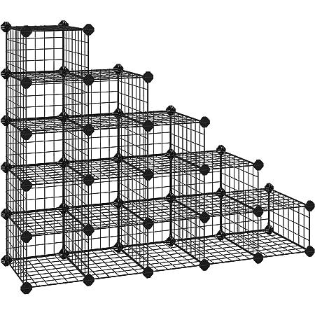 SONGMICS 15 Cubes de Rangement en Treillis Métallique, Étagère à Chaussures modulable, pour Placard, Chambre, Comprend Un maillet en Caoutchouc et des Sangles Anti-basculement, Noir LPI44HS