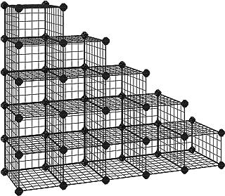 comprar comparacion SONGMICS Zapatero Modular con 15 Cubos, Rejilla de Alambre de Metal, Estantería de Almacenamiento de Bricolaje, Organizado...