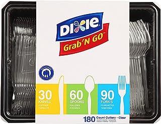 چنگال پلاستیکی ، قاشق چایخوری و کارد و چنگال پلاستیک با وزن سنگین Dixie توسط GP PRO (جورجیا-اقیانوس آرام) ، Crystal ، CH0369DX7 ، (90 چنگال ، 60 قاشق و 30 چاقو در هر کیت ، 1 کیت در هر مورد)