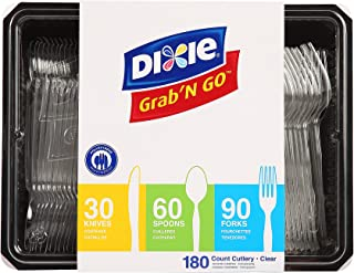 Dixie Heavy-Weight Polystyrene Plastic Fork, Teaspoon And Knife Cutlery Pack by GP PRO (Georgia-Pacific), Crystal, CH0369DX7, (90 Forks, 60 Spoons, and 30 Knives Per Kit, 1 Kit Per Case)