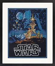 Dimensions 70-35380 Star Wars Luke Skywalker and Princess Leia Cross Stitch Kit Black 14 Count Aida, 11