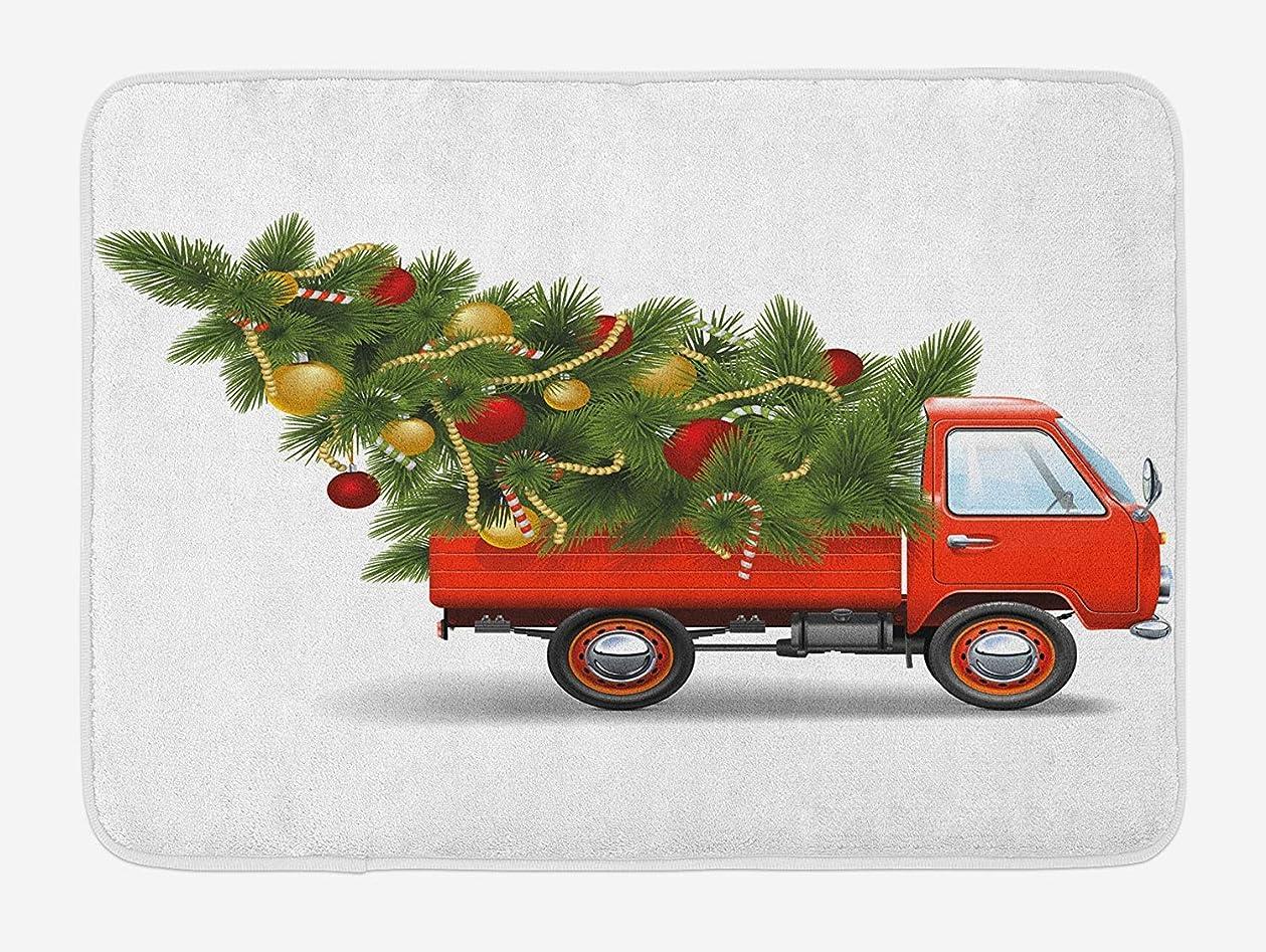 部湿原ポルノクリスマスバスマット、赤いレトロスタイルの農場トラック、見掛け倒しボールキャンディ付きの大きなクリスマスツリー、滑り止めバッキング付きの豪華なバスルームの装飾マット、23.6