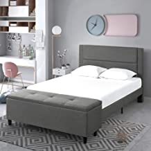 Zinus Anna Double Bed Frame Platform Fabric Grey with Ottoman Blanket Box Storage Foot Stool Bench
