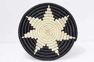 Hand Woven African Trivet - 9 Inches Coiled Sisal & Banana Fiber Trivet - Handmade in Rwanda - Buttermilk Tan, Black, ATK04