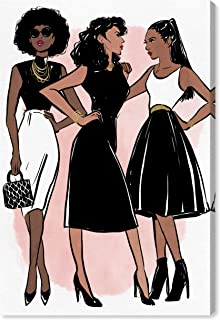 The Oliver Gal Artist Co. Fashion and Glam Wall Art Canvas Prints 'Lovely Gals' Home Décor, 20 x 30, Black, White