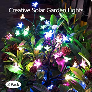 Etercycle Outdoor Solar Garden Stake Lights,Bright LED Solar Powered Landscape Fairy Lights, IP65 Waterproof Flickering Big Flowers for Pathway Patio Yard Deck Walkway Christmas Decoration - 2Pack