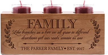 LifeSong Milestones Personalized Like Branches on a Tree Family Candle Holder Custom Engraved Cherry Wood Keepsake Ideas for