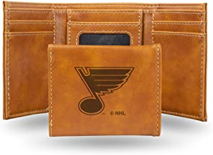 Rico Industries NHL Laser Engraved Tri-Fold Wallet, Brown