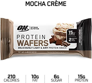 New! OPTIMUM NUTRITION High Protein Wafer Bars, Low Sugar, Low Fat, Low Carb Dessert, Flavor: Mocha, 9 Count