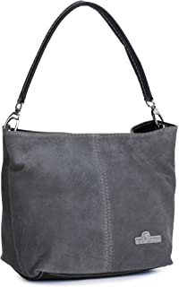 LIATALIA Womens Mini Real Italian Suede Leather Single Strap Hobo Slouch Bag - DEMI [ Dark Grey]
