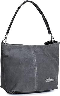 LIATALIA Womens Mini Real Italian Suede Leather Single Strap Hobo Slouch Bag - DEMI [ Dark Grey]