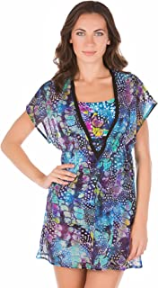 Profile by Gottex Women's Royal Peacock Tunic Swim Cover Up Multi S