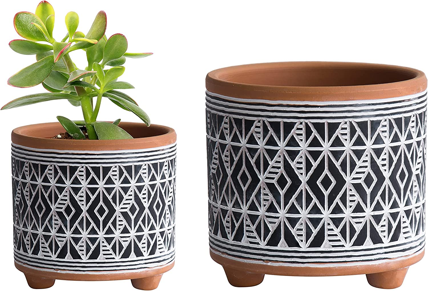 Set of 2 Terracotta Planter Pots 6.4 Diamond 4.4 Be super welcome discount Inch P