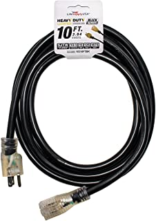 10 ft Extension Cord 10/3 SJTW with Lighted end - Black - Indoor / Outdoor Heavy Duty Extra Durability 15 AMP 125 Volts 18...