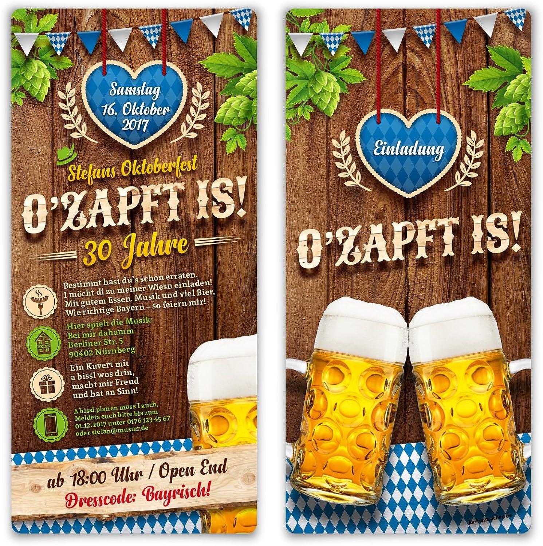 Einladungskarten Oktoberfest Geburtstag (50 Stück) Bayern Einladungen - O'zapft is  in Blau