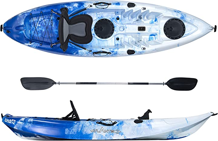 Kayak-canoa shark blu/bianco cm 280-2 gavoni - seggiolino - pagaia - portacanna B0851D4YJG