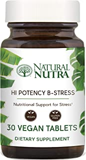 Hi Potency B Stress Complex by Natural Nutra with Vitamin C, Passion Flower and Valerian Root, 30 Tablets
