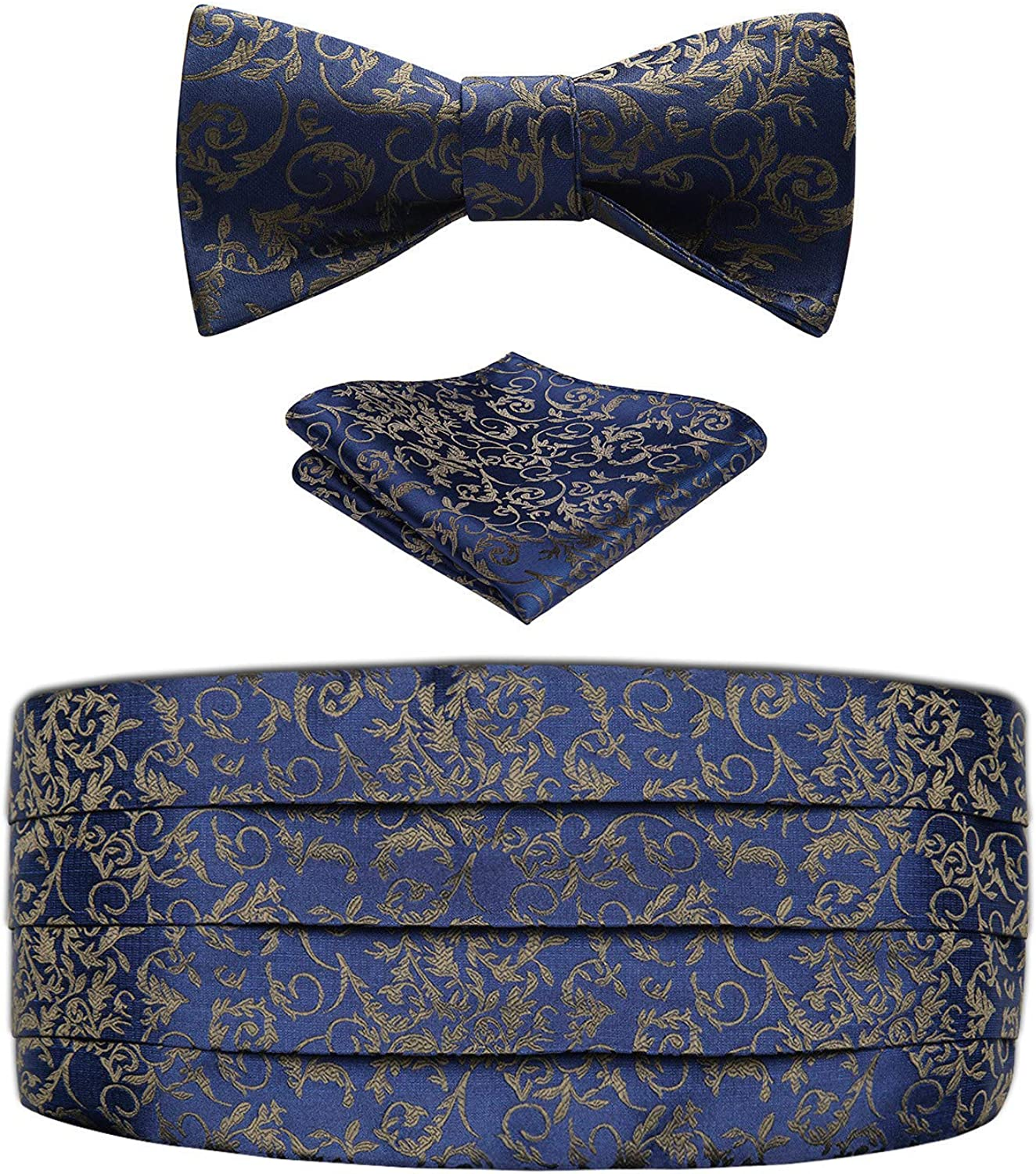 Enmain Mens Formal Cummerbund with Bowtie and Pocket Square Set for Tuxedo wedding party navy blue