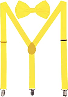 Suspender With Bowtie for Kids - Elastic Y-Back Design with Strong Metal Clips