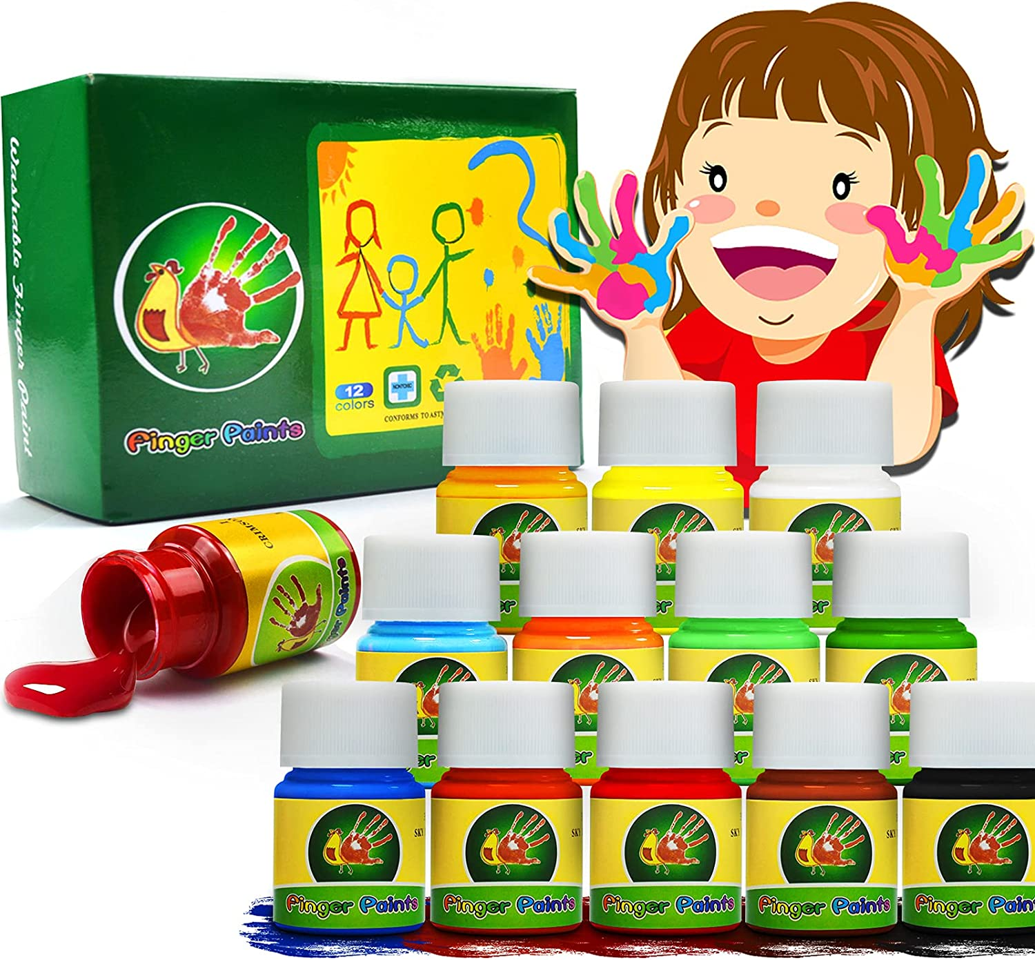 Magicdo Finger Paint for Kids Washable Limited Our shop most popular Special Price Non-Toxic Temper Toddlers