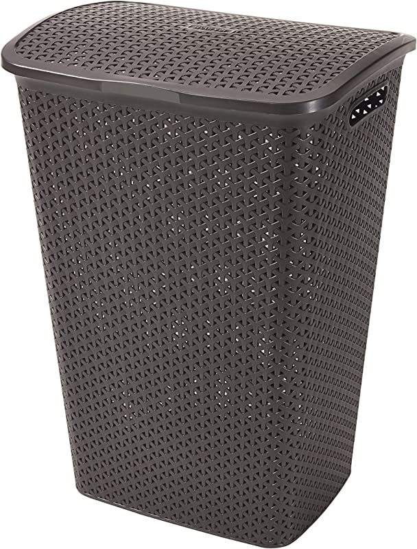 Curver My Style 55 L Rattan Effect Plastic Laundry Hamper Brown