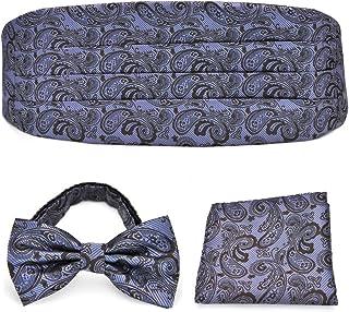 PenSee Mens Paisley Exquisite Silk Bow Tie & Hankerchief & Cummerbund Set-Various Colors