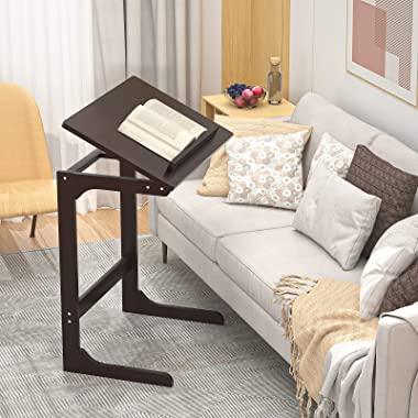 Homykic C Table End Table, Bamboo C Shaped Side Laptop Table Desk with Adjustable Tabletop for Couch Sofa Snack Coffee, Livin