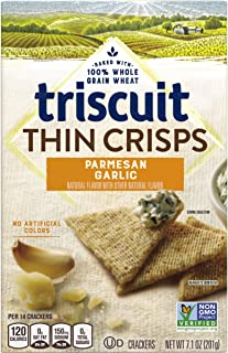 Triscuit Thin Crisps Parmesan Garlic Crackers, Non-GMO, 7.1 oz (Pack of 6)