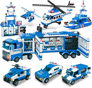 City Police, City Station Building Sets, 8 in 1 Mobile Command Center Building Bricks Toy with Cop Car & Patrol Vehicles, ...