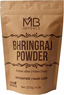 MB Herbals Pure Bhringraj Powder 227g | 8.00 oz | Half Pound | Pure Bhringaraj Powder | 100% Pure Eclipta alba Powder | Promotes Healthy Hair Growth | Increases Hair Thickness