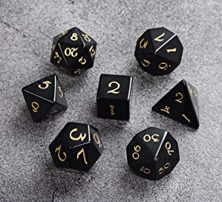 DND RPG Gemstone Dice Set of 7 - Luxury Black Obsidian Stone Dice with Gold Numbers, Handcrafted Premium Semi Precious Gem...