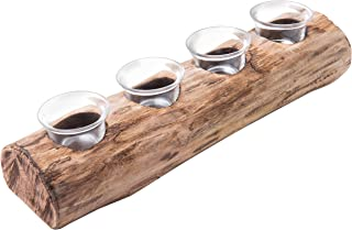 MyGift Rustic Wood Log Tea Light Candle Holder with 4 Clear Glass Votive